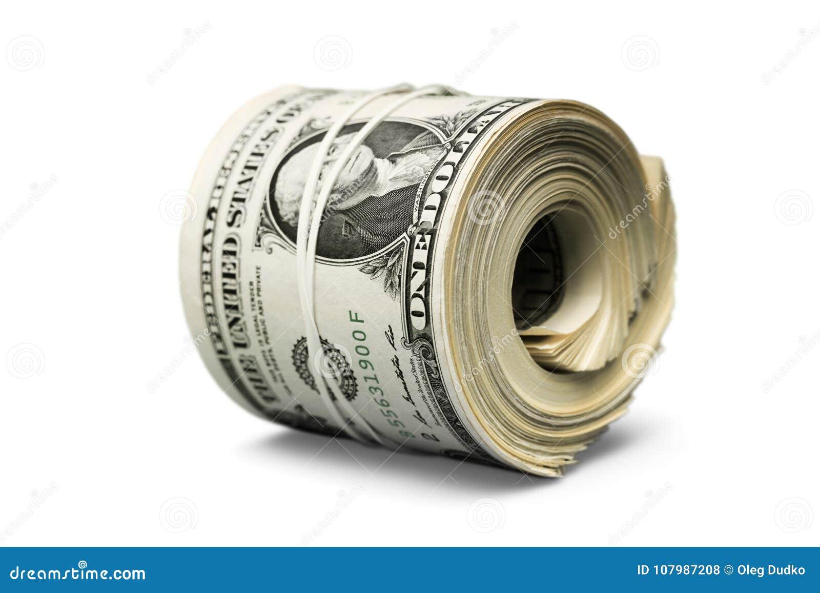 Rollo del dólar apretado con la banda Recorte rodado del dinero