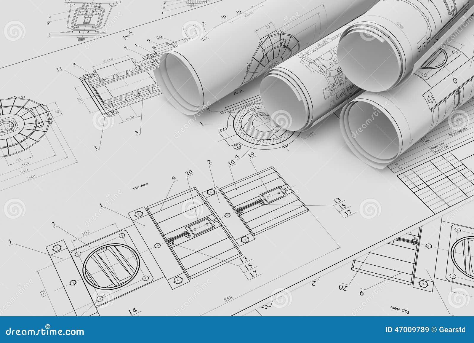 Rollo y dibujos t cnicos planos stock de ilustraci n for Planos tecnicos arquitectonicos