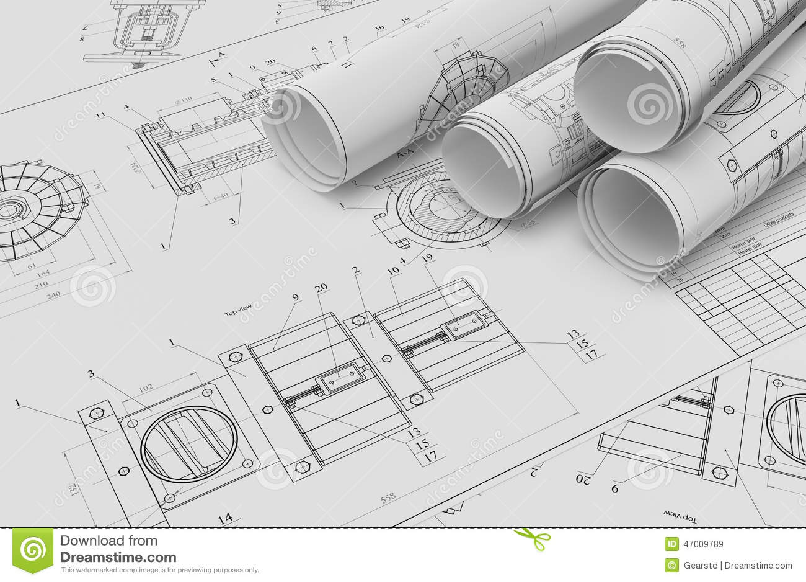 Rollo y dibujos t cnicos planos stock de ilustraci n for Plano de planta dibujo tecnico