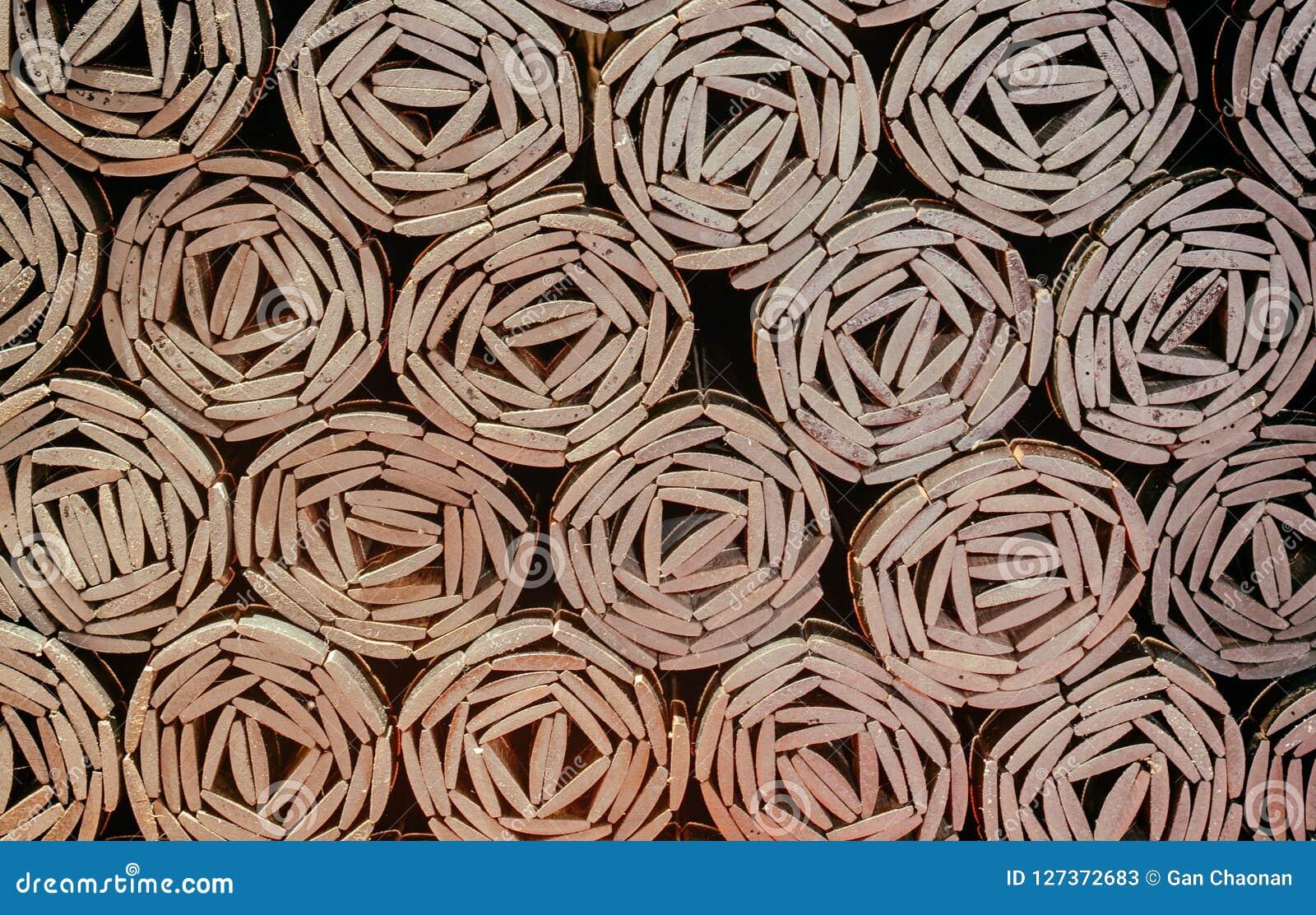 Rollos de bambú de fotos de la esquina superior