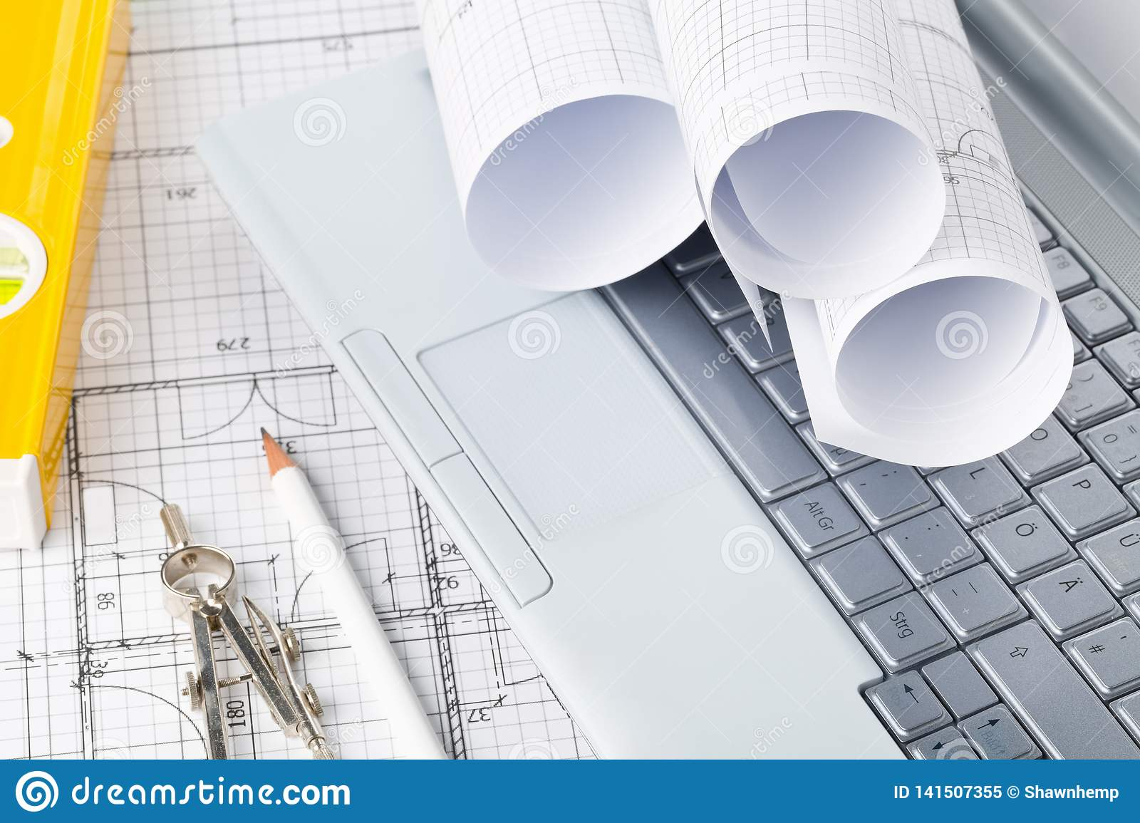 Rolls Of Architectural Blueprint House Building Plans On