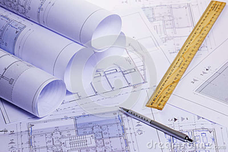 Rolls of architectural house plans