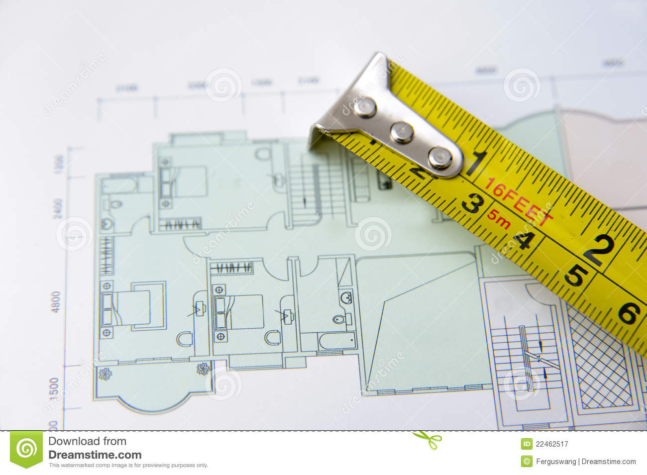Rolls of architectural house plans tape measure royalty for House blueprints with measurements