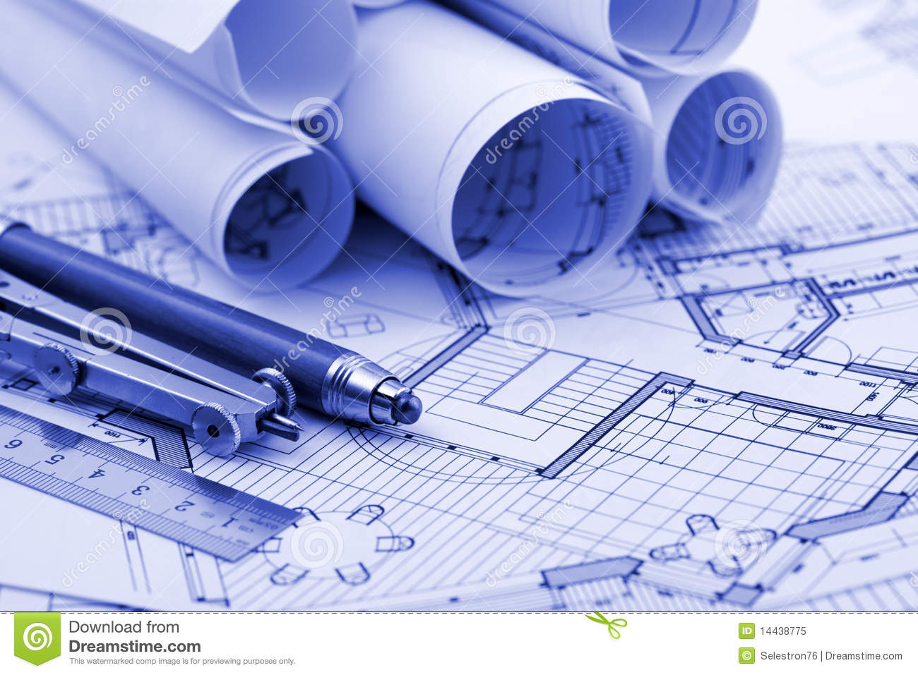 Architecture Blueprints Wallpaper rolls of architecture blueprint & work tools royalty free stock