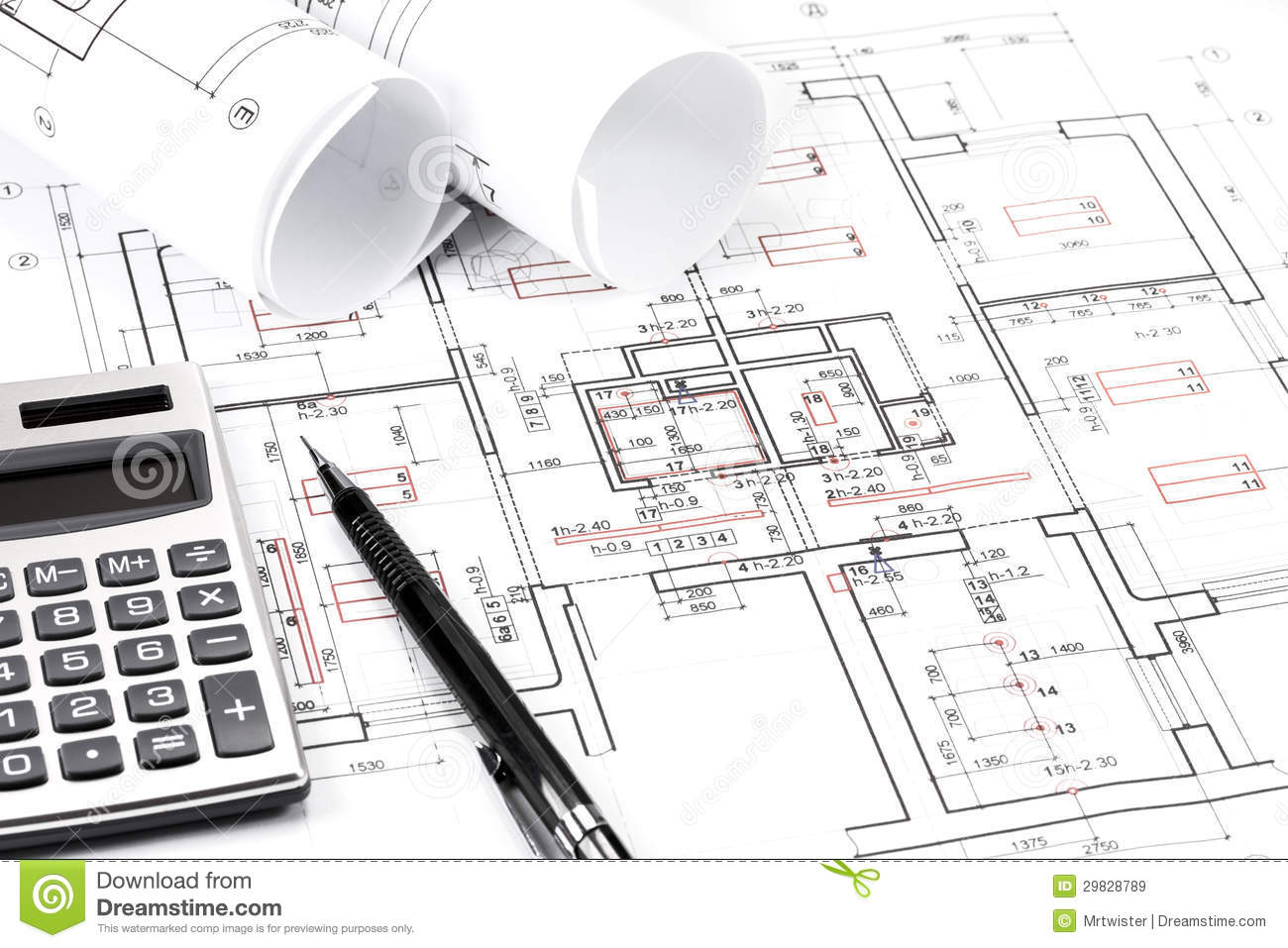 Rolls Architecture Blueprint Work Tools Stock Photos Images