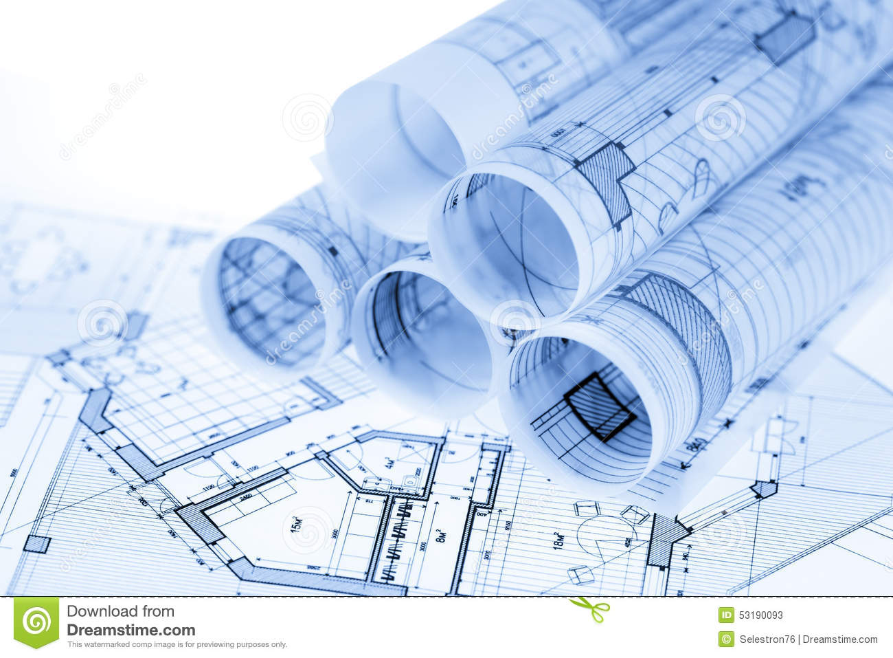 Rolls of architecture blueprints stock illustration for House plans by architects