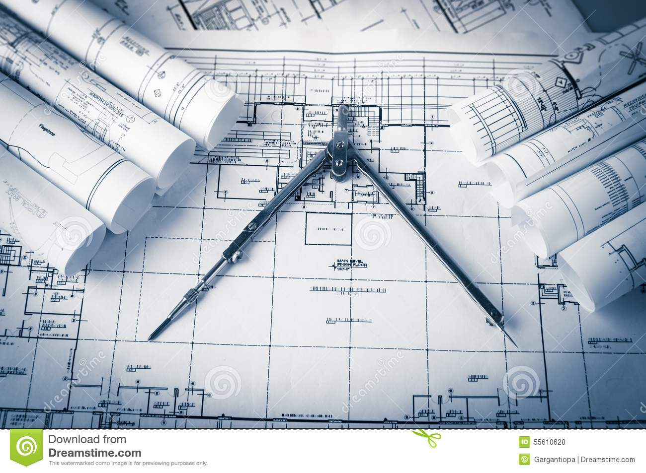Rolls of architecture blueprints and house plans stock for House blueprint images