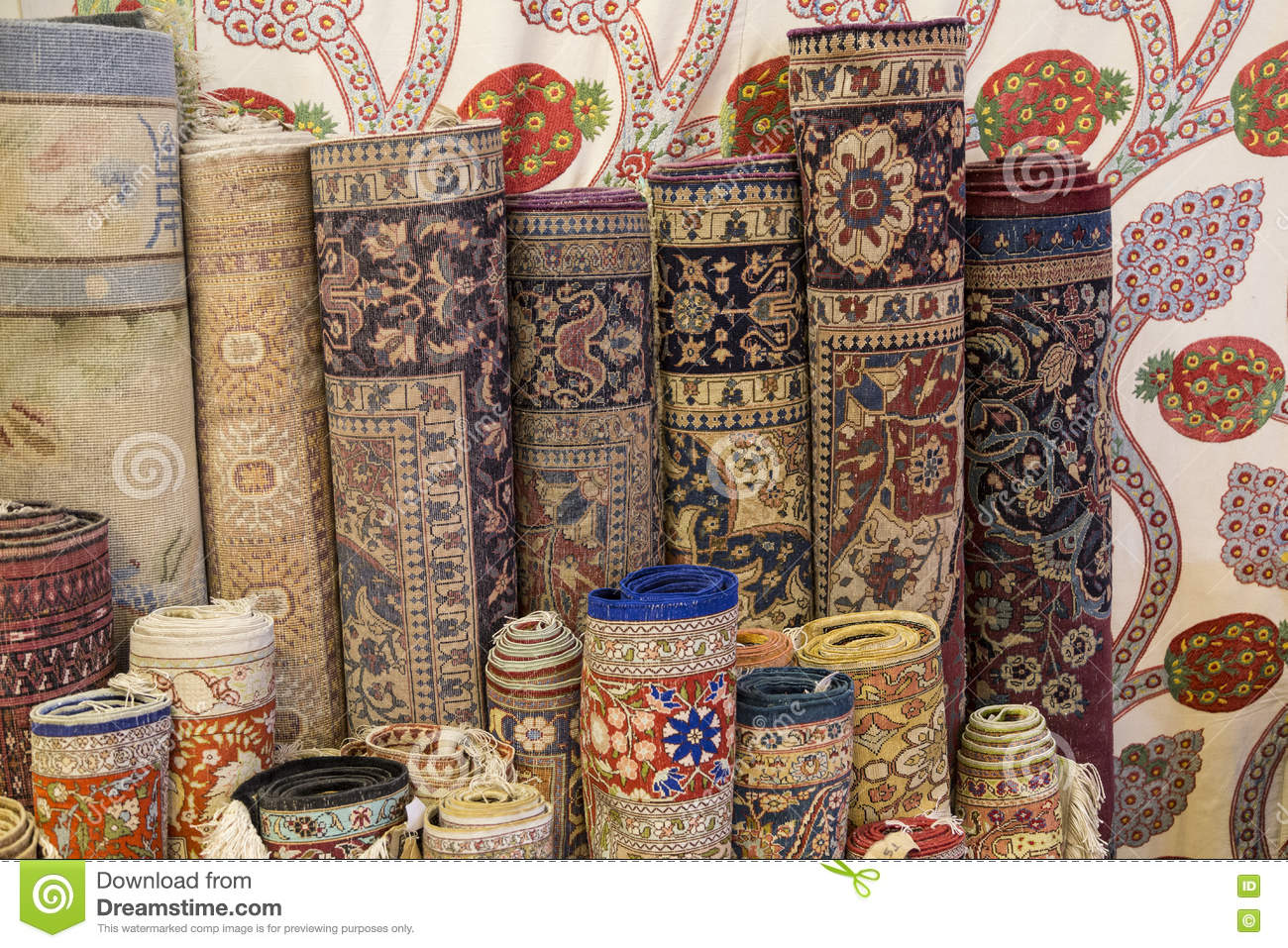 Rolls Of Carpets And Rugs Stock Photo Image Of Silk