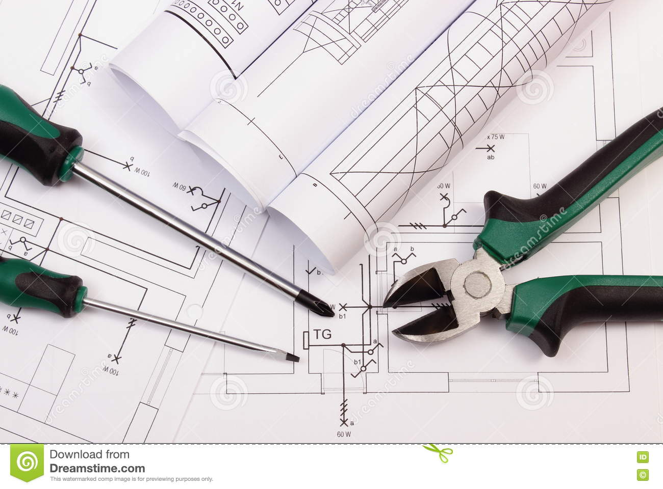 Rolls of diagrams and work tools on electrical construction drawing download comp ccuart Image collections