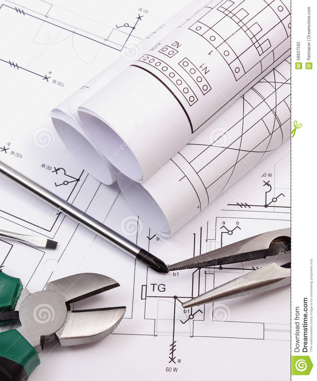 Rolls Of Diagrams And Work Tools On Electrical Construction Drawing House