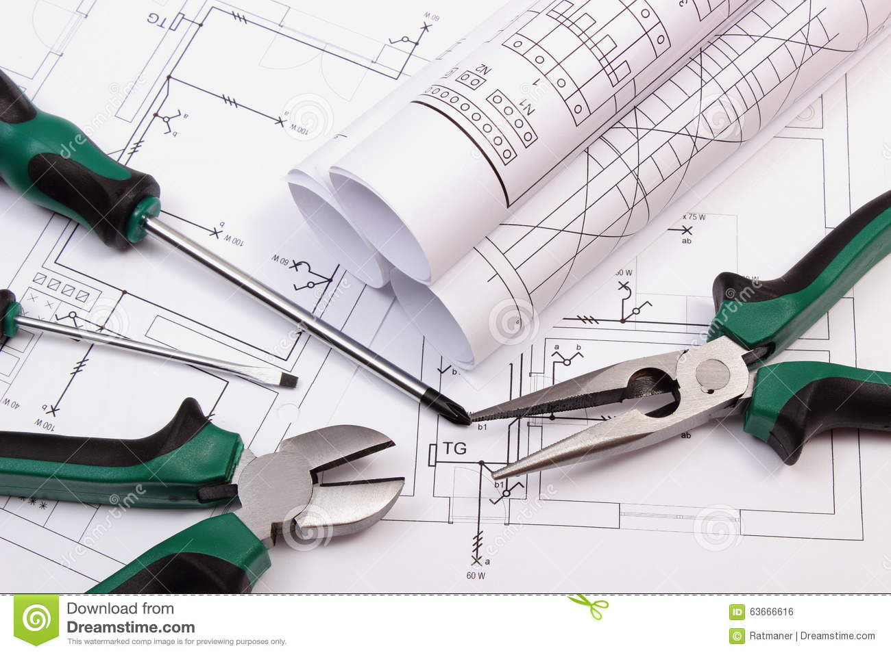 Rolls of diagrams and work tools on electrical construction drawing download rolls of diagrams and work tools on electrical construction drawing of house stock photo ccuart Image collections
