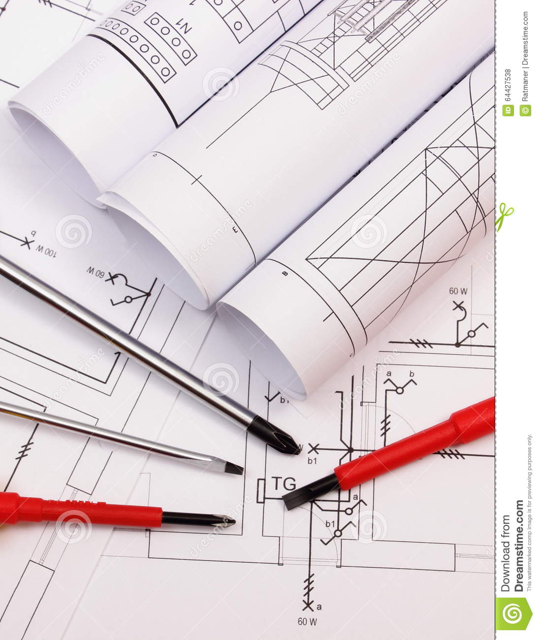 Rolls Of Diagrams And Work Tools On Electrical Construction Drawing In House