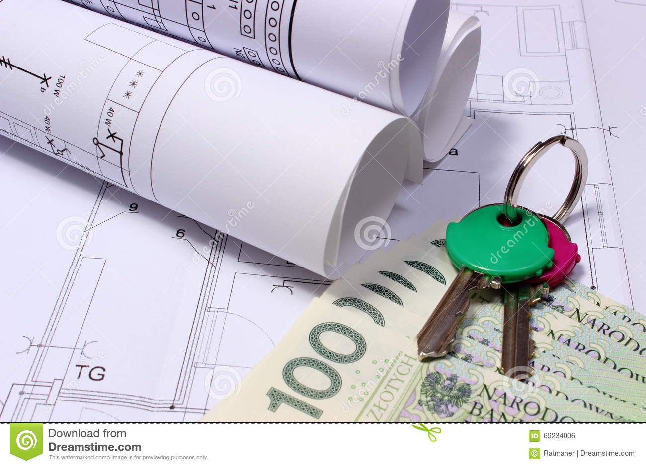 Rolls Of Electrical Diagrams On Construction Drawing House And Money With Keys