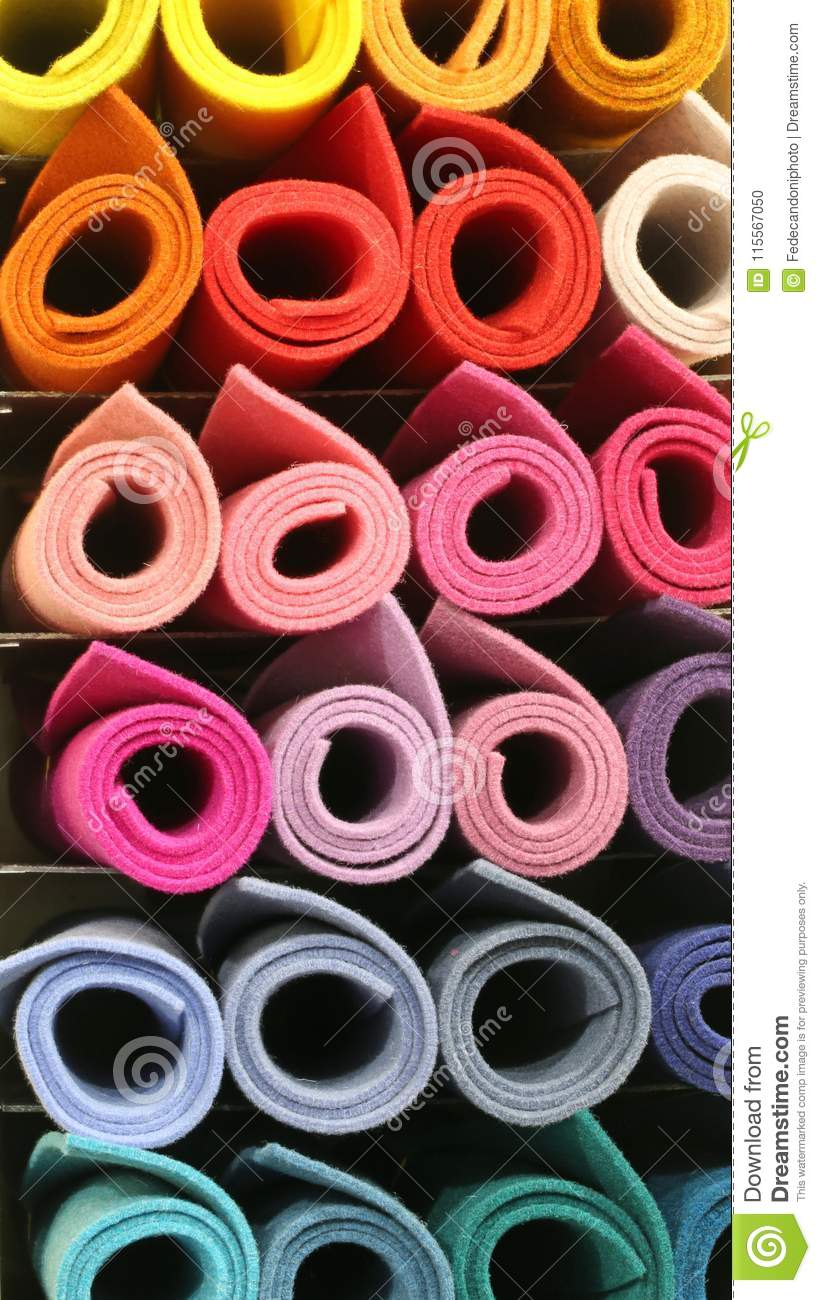 rolls of fabric in the rack of the tailoring stock photo image of