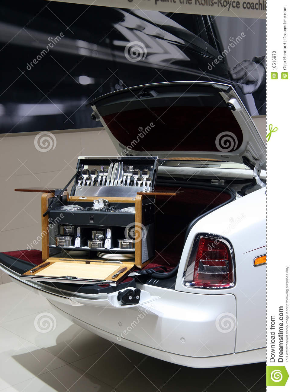Rolls Royce Picnic Hamper At Paris Motor Show Editorial