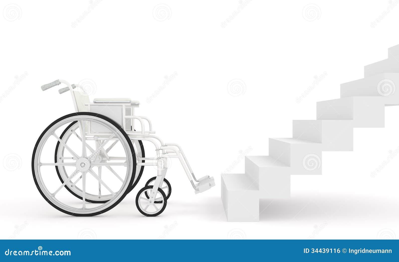 rollstuhl vor treppe auf wei em hintergrund lizenzfreies stockbild bild 34439116. Black Bedroom Furniture Sets. Home Design Ideas