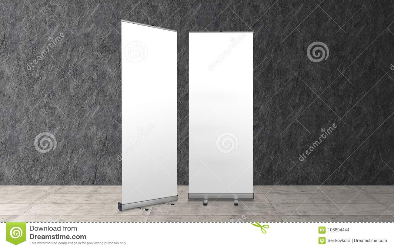 Exhibition Stand Banner : Rollup banners stand blank template mockup stock photo image