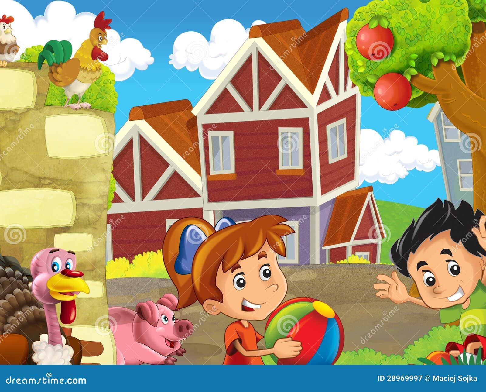 Rolna ilustracja z dziećmi - wiele różni elementy