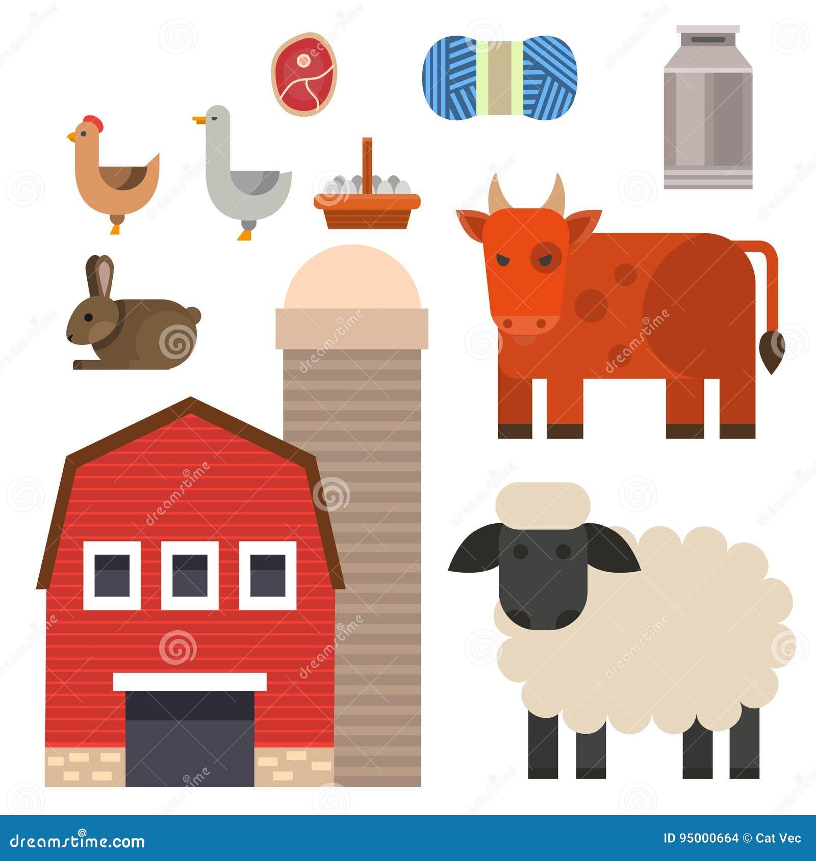 Rolnej ikony wektorowej ilustracyjnej natury zbożowego rolnictwa zwierząt karmowi zbiera różni charaktery