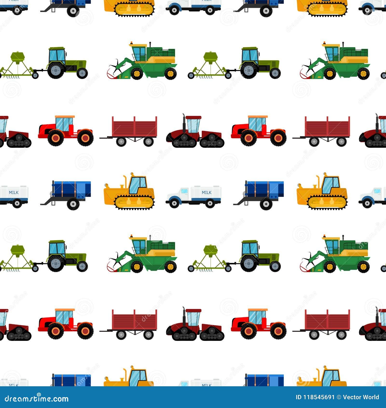 Rolnictwa rolnego wyposażenia tła maszynerii przemysłowi bezszwowi deseniowi ciągniki łączą i ekskawatory wektorowi