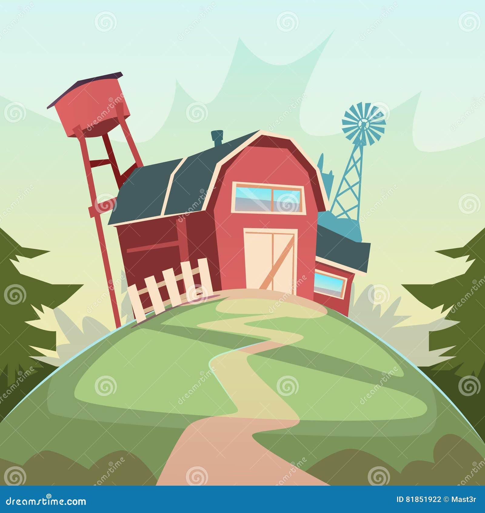 Rolnictwo I Uprawiać ziemię, stajnia budynku pola ziemi uprawnej wsi krajobraz