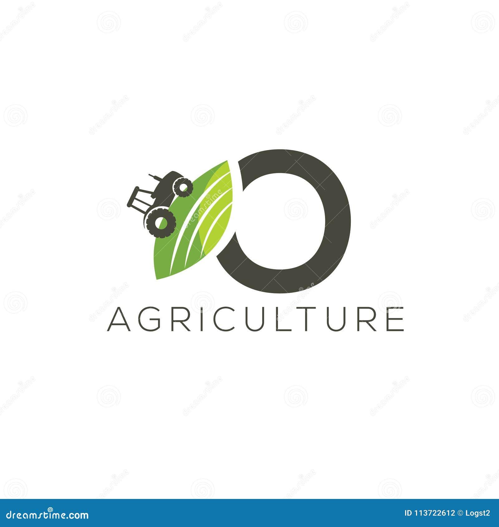 Rolnictwo loga list O Ciągnikowa ikona Zielonego jedzenia emblemat