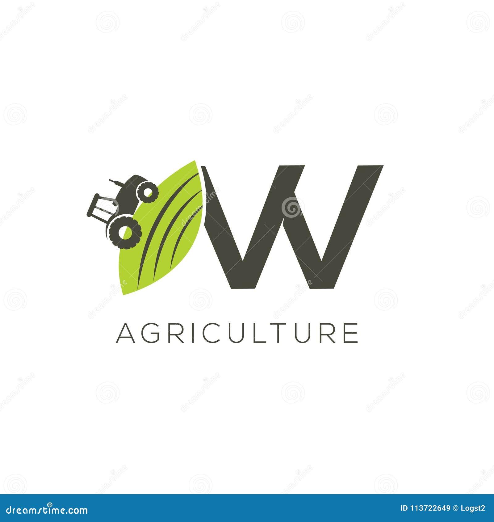 Rolnictwo loga list W Ciągnikowa ikona Zielonego jedzenia emblemat