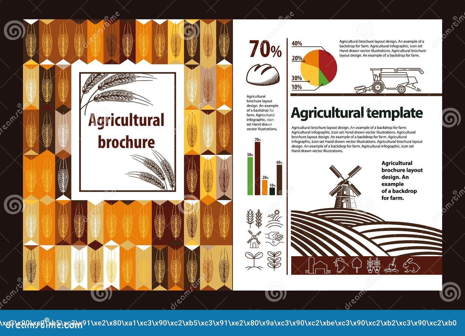 Rolniczy broszurka układu projekt Przykład tło dla gospodarstwa rolnego Rolniczy infographic, logo set