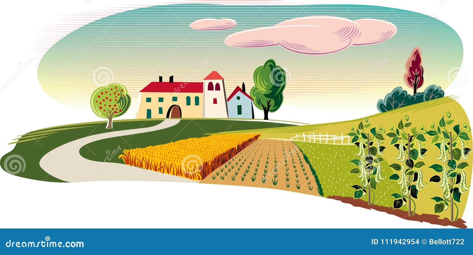 Rolniczy krajobraz z gospodarstwem rolnym