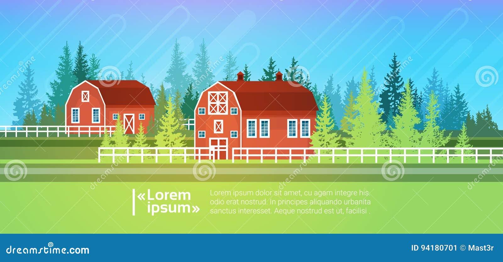 Rolny dom, stajnia budynku pola ziemi uprawnej wsi krajobraz