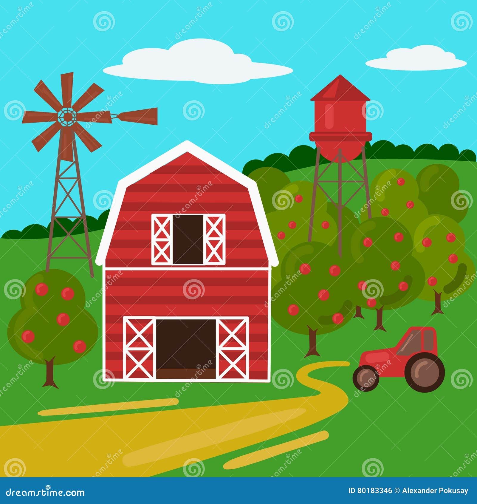 Rolny krajobraz z stajnia wiatraczkiem i ciągnikiem