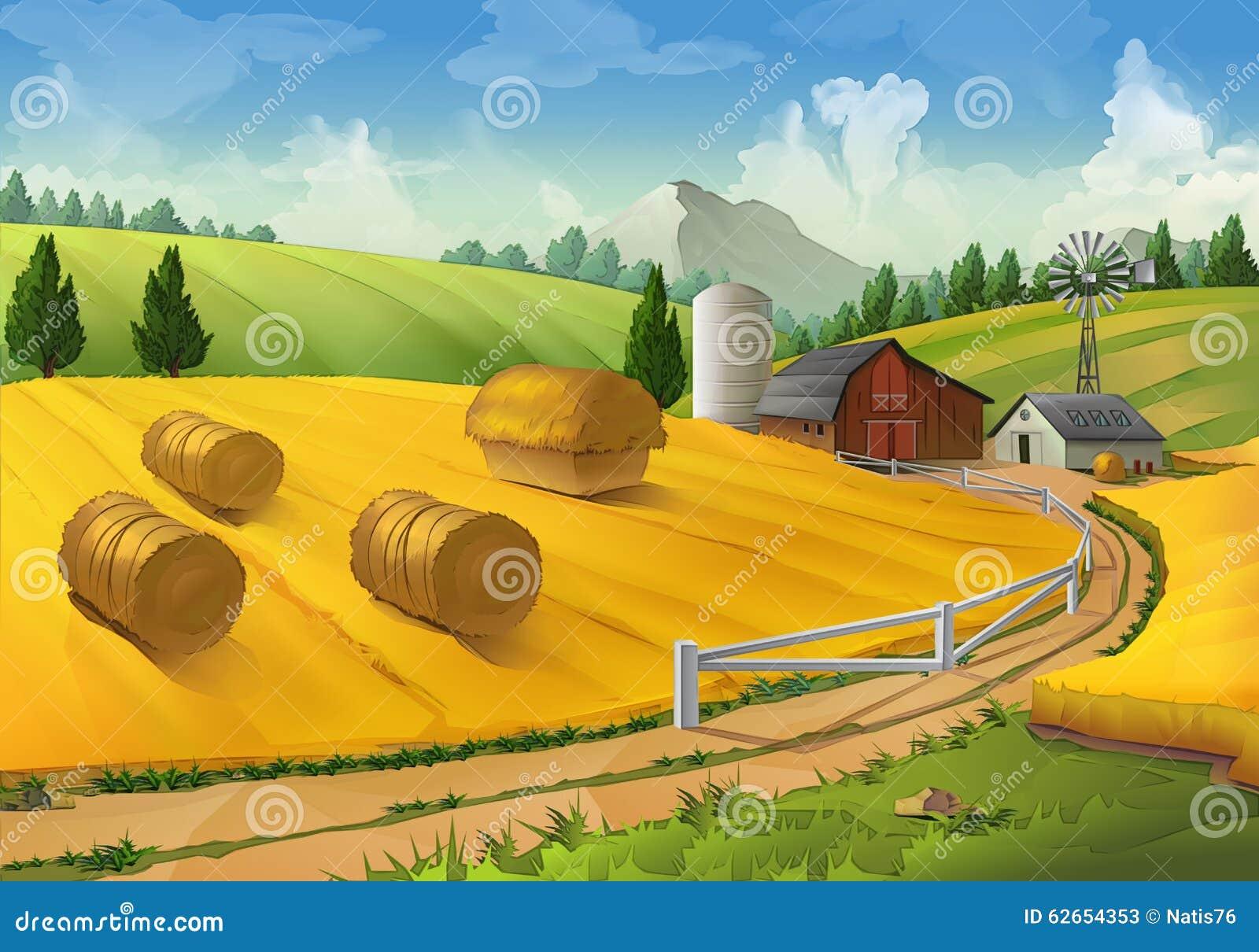 Rolny wiejski krajobraz
