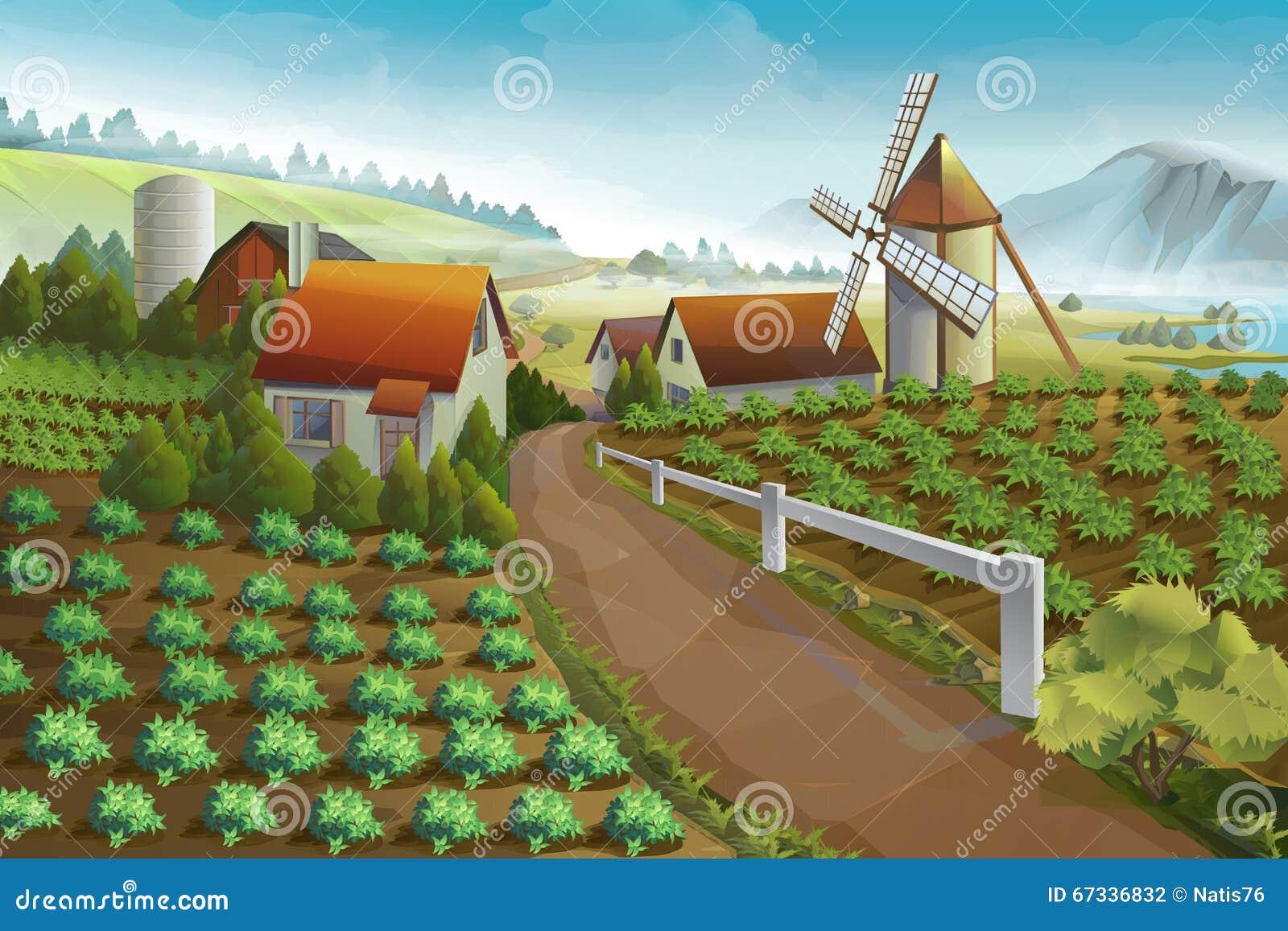 Rolny wiejski krajobrazowy tło