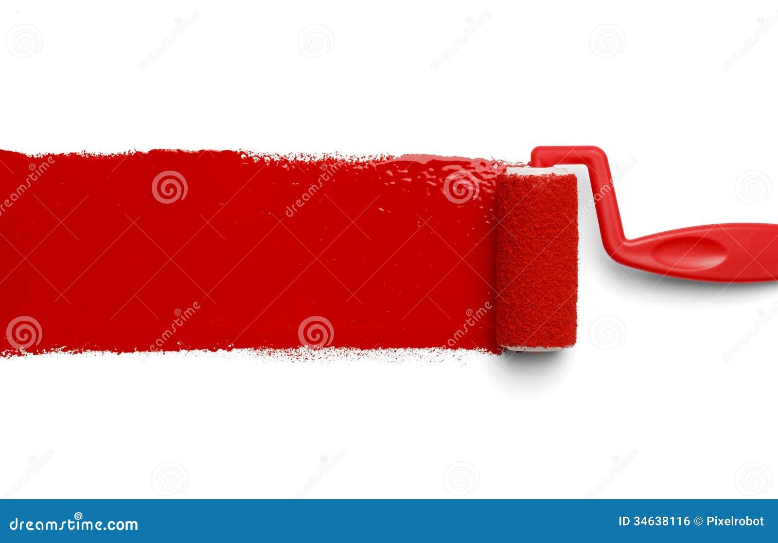 Rolo de pintura vermelho imagem de stock royalty free - Rodillos de pintura ...