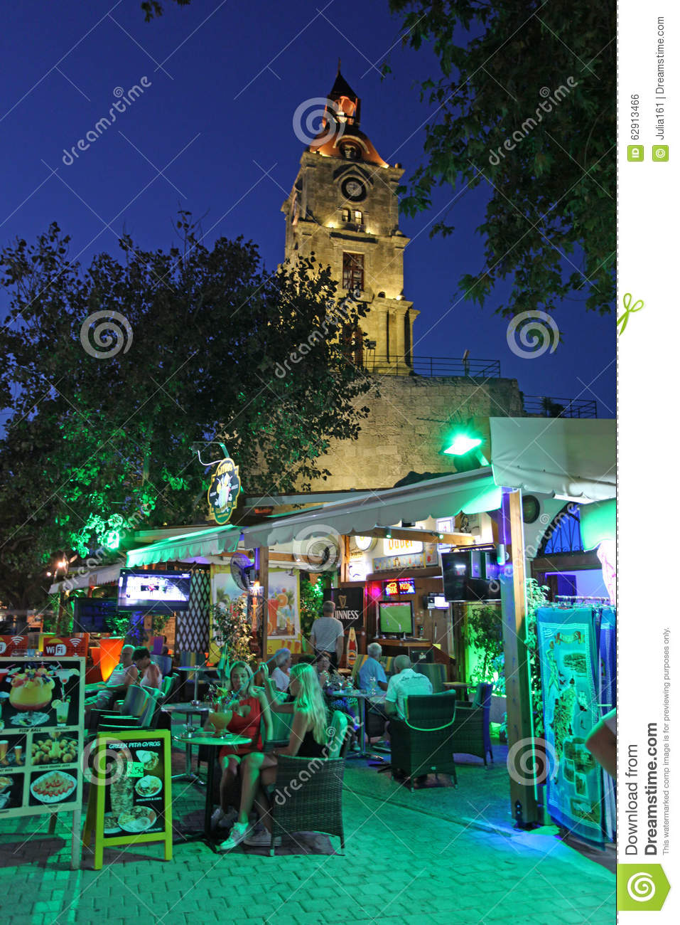 Roloi Clock Tower In Rhodes Old Town By Night. Greece ...