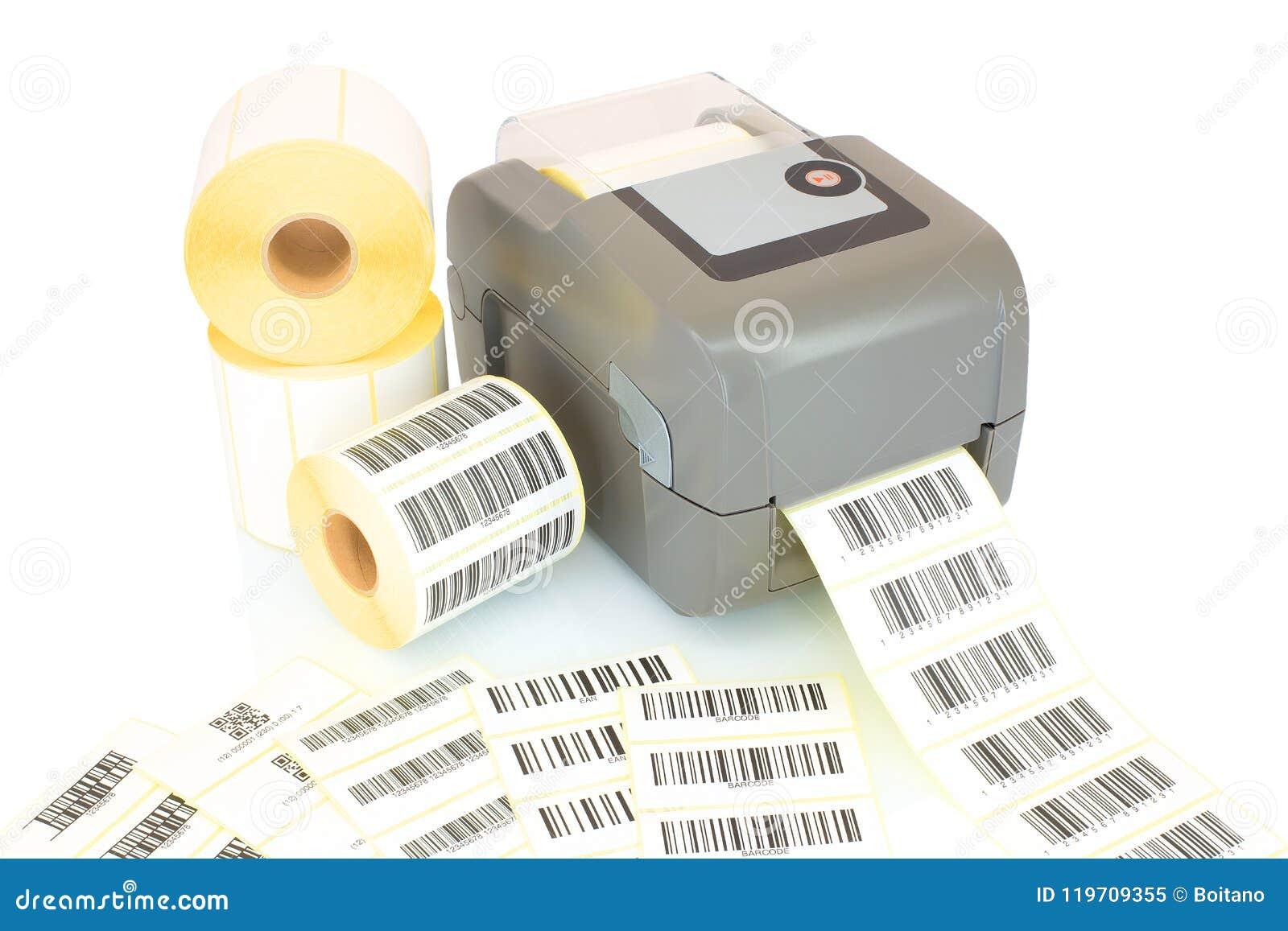Rolos brancos da etiqueta, códigos de barras impressos e impressora isolados no fundo branco com reflexão da sombra