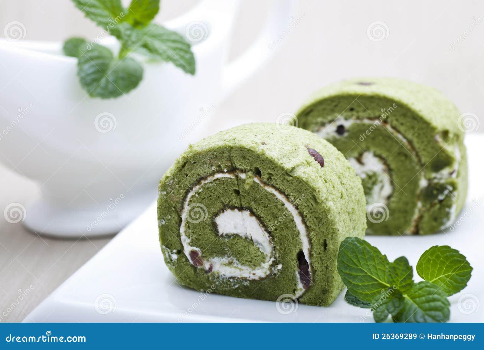 Rolos do bolo de Matcha