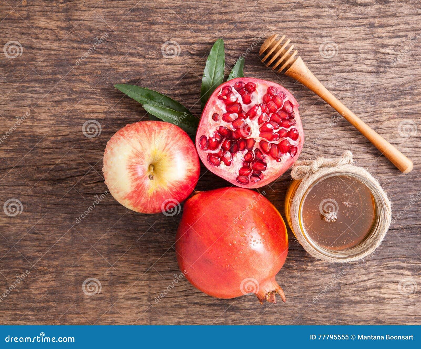 Romã, maçã e mel para o explorador de saída de quadriculação tradicional dos símbolos do feriado