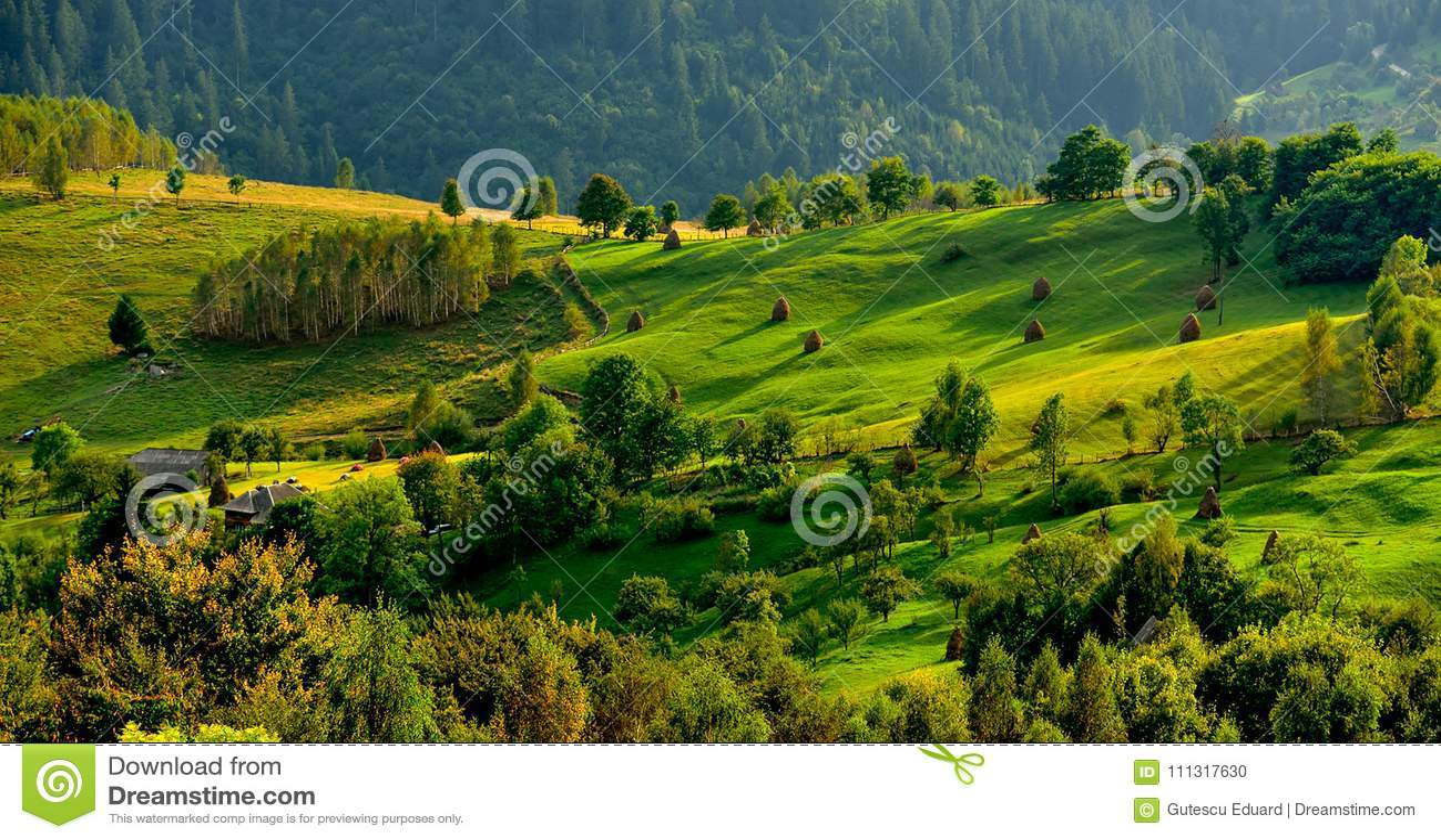 Romênia, montanha de Apuseni na primavera, casas tradicionais