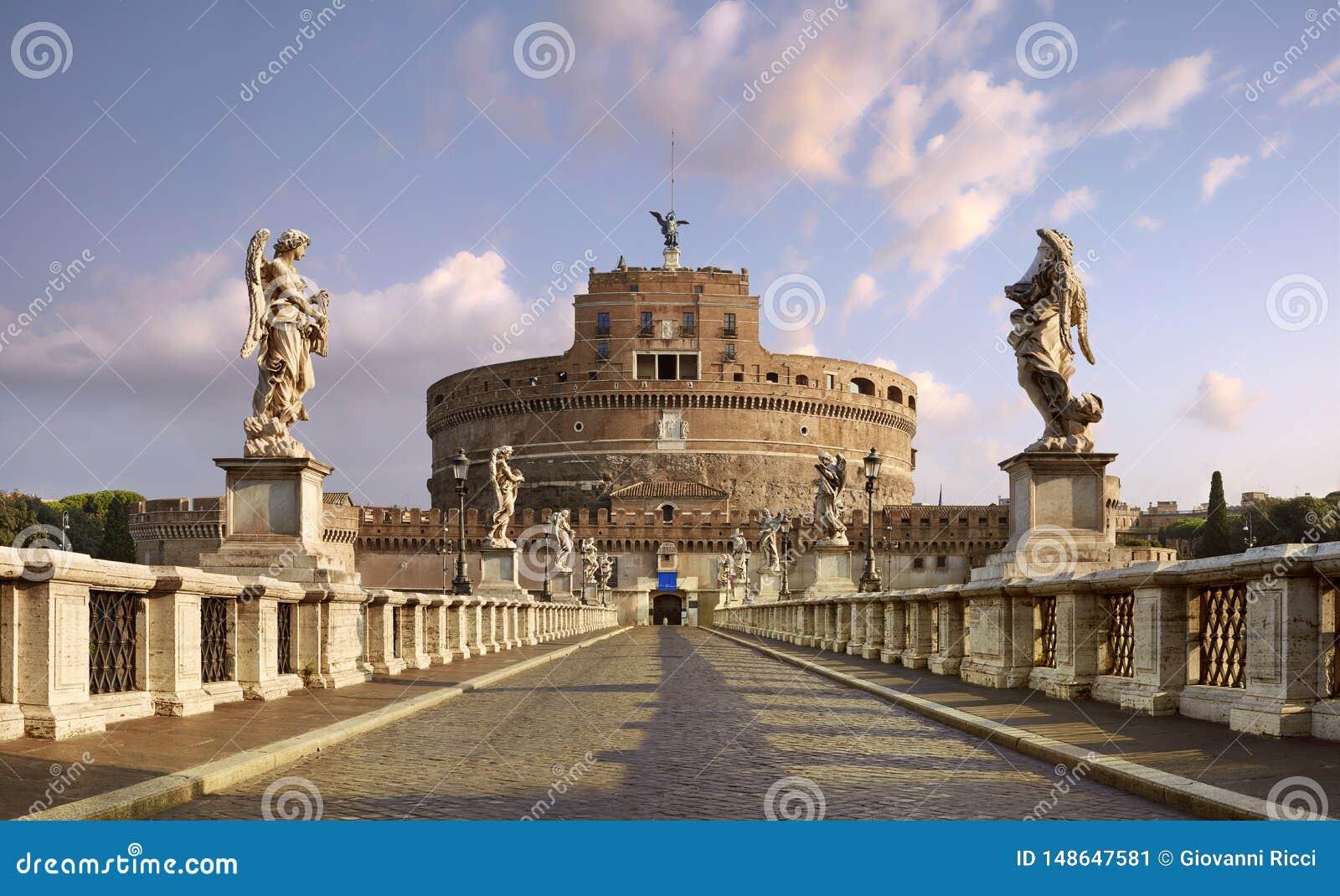Rom, Hadrians Mausoleum bekannt als Castel Sant ?Angelo Panoramablick von Ponte Sant ?Angelo