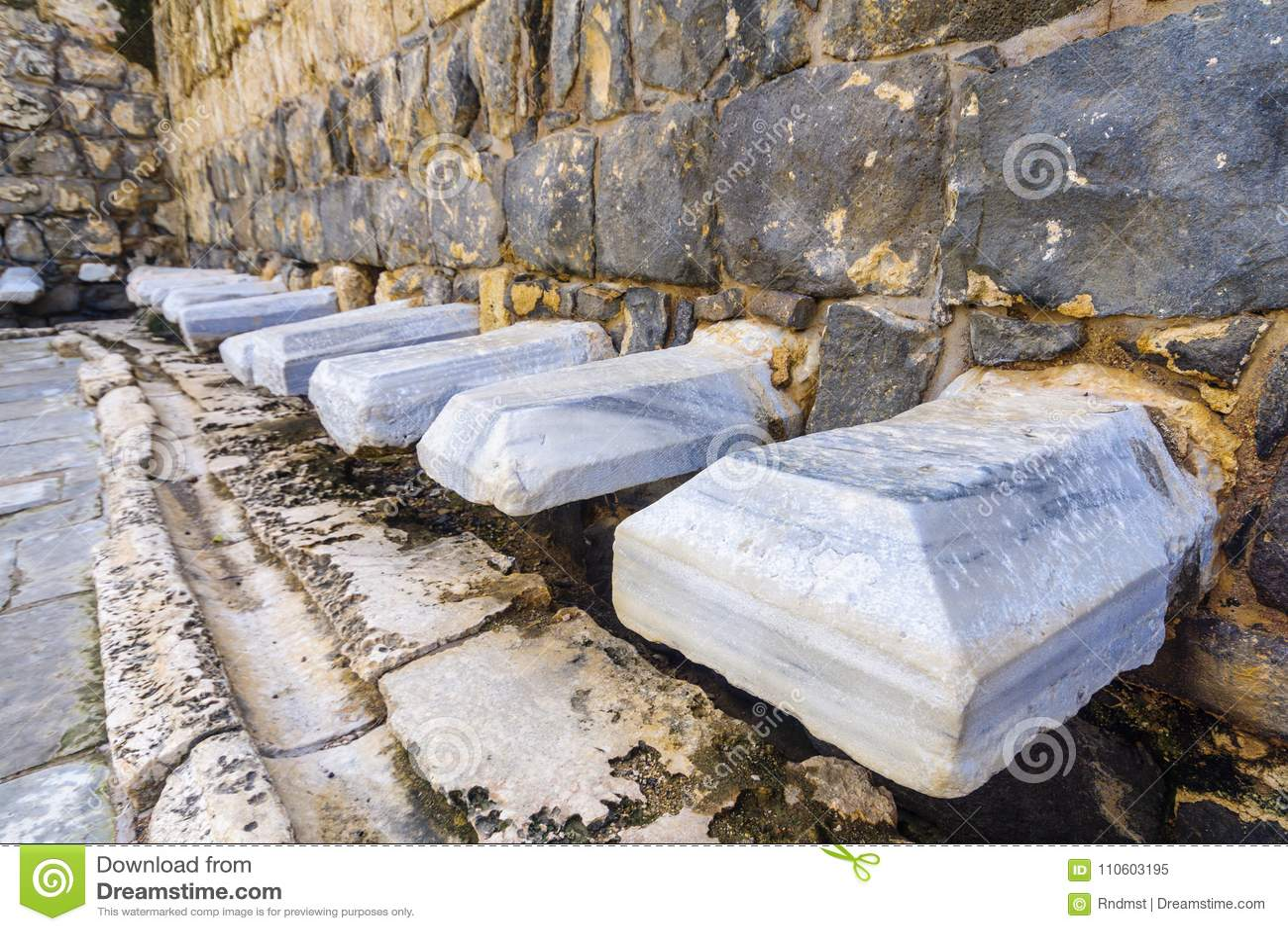 Romańska jawna toaleta w antycznym mieście zakład Shean