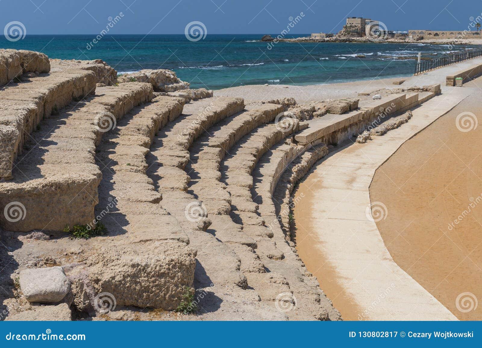 Romański amfiteatr, archeologiczne ekskawacje w antycznym mieście Caesarea, Izrael