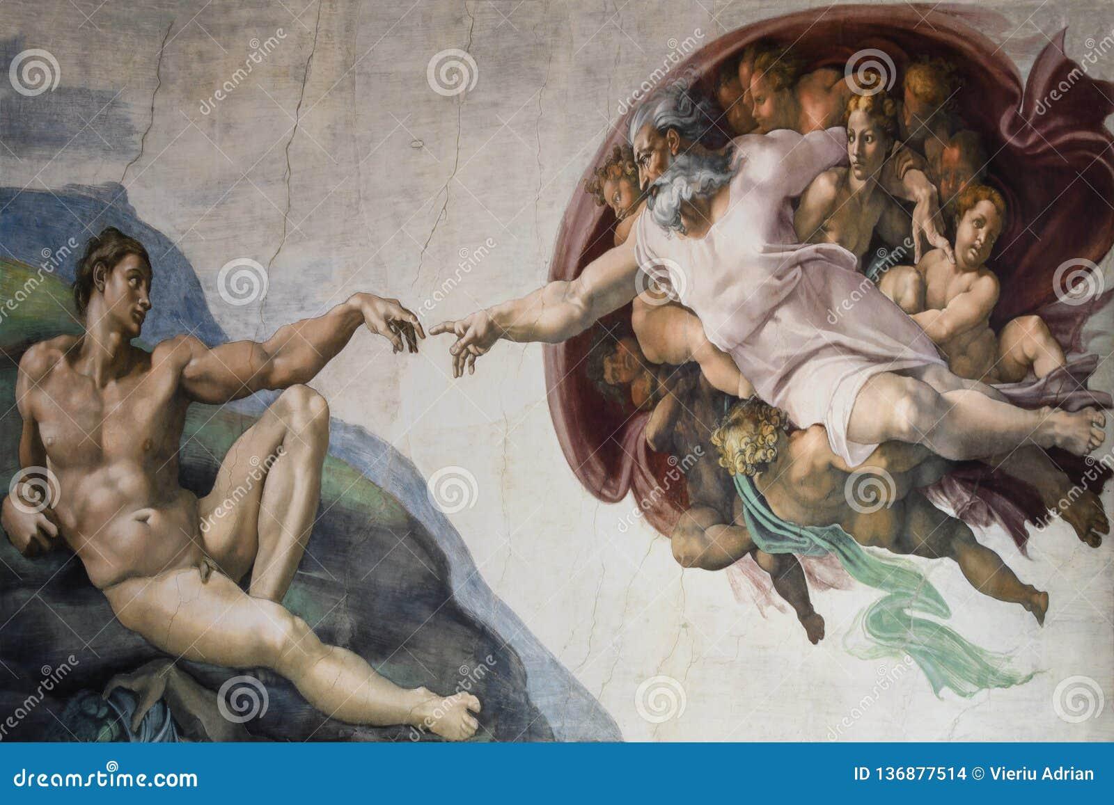 Roma Itália criação do 8 de março de Adam por Michelangelo