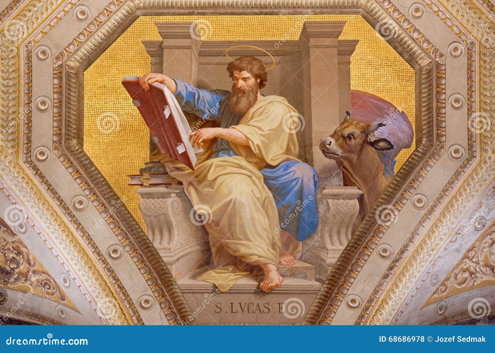 ROMA, ITALIA: Affresco di St Luke l evangelista in Di Santa Maria di Chiesa della chiesa in Aquiro vicino nello stile del neo-man