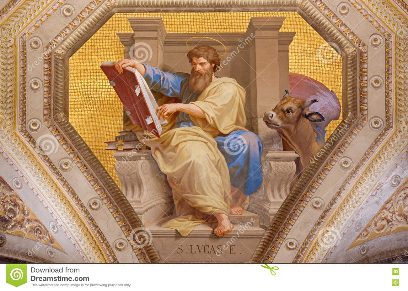 ROMA, ITALIA: Fresco de St Luke el evangelista en los di Santa Maria de Chiesa de la iglesia en Aquiro cerca en estilo del neo-ma