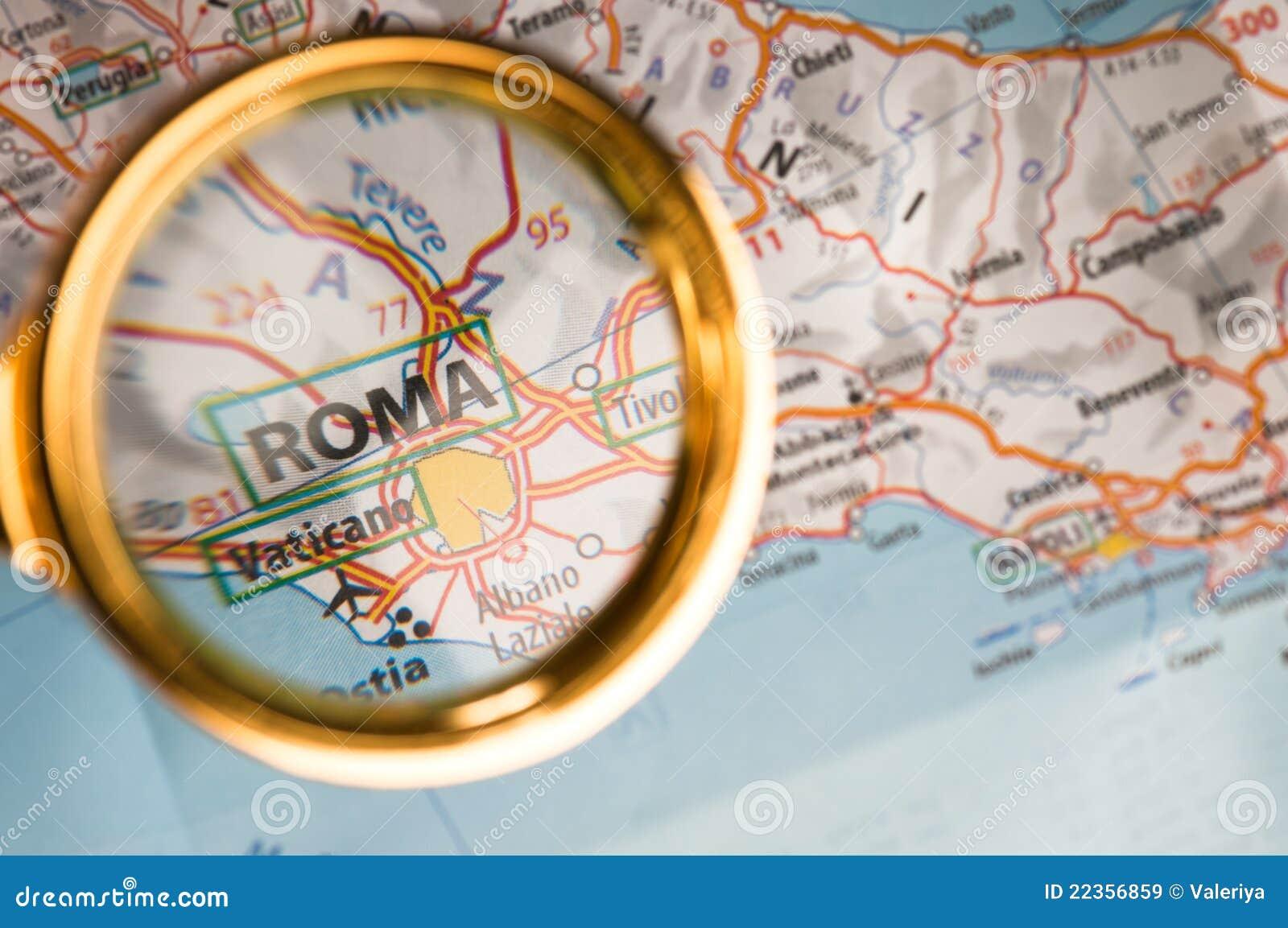 Roma sur une carte