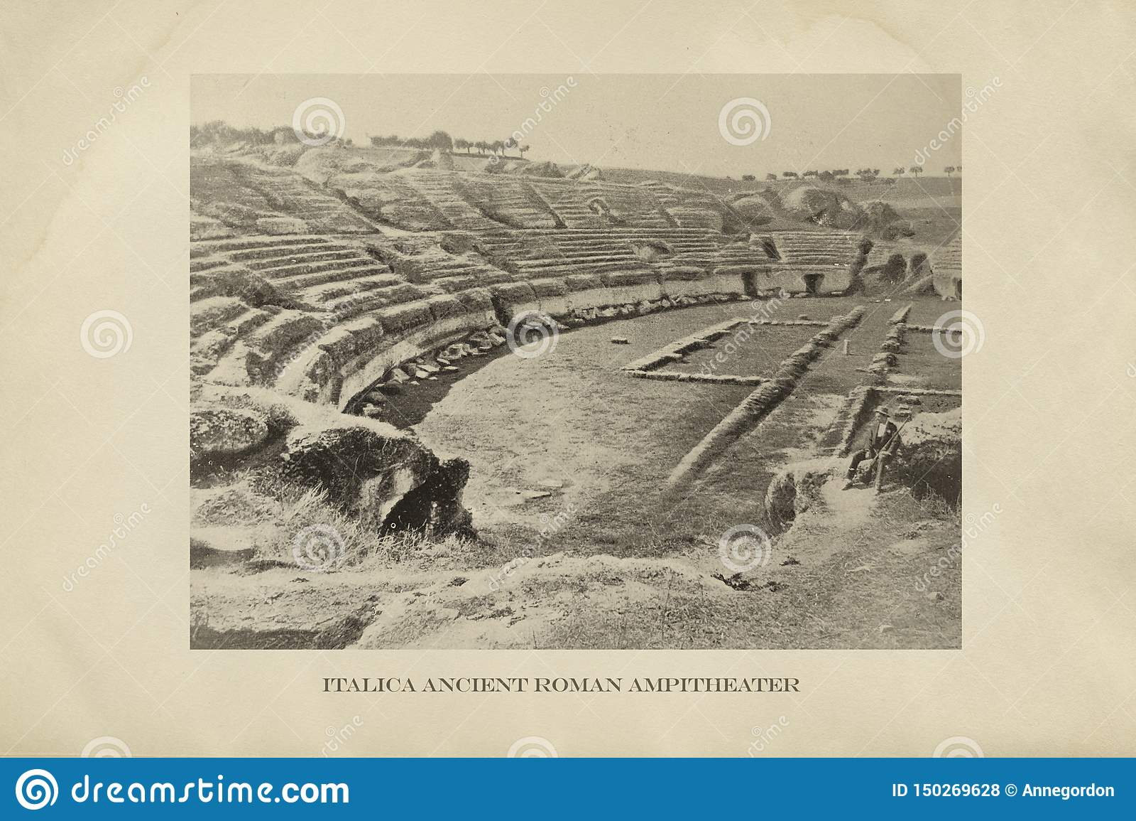 Roman Amphitheater fördärvar Italica, Seville, Spanien