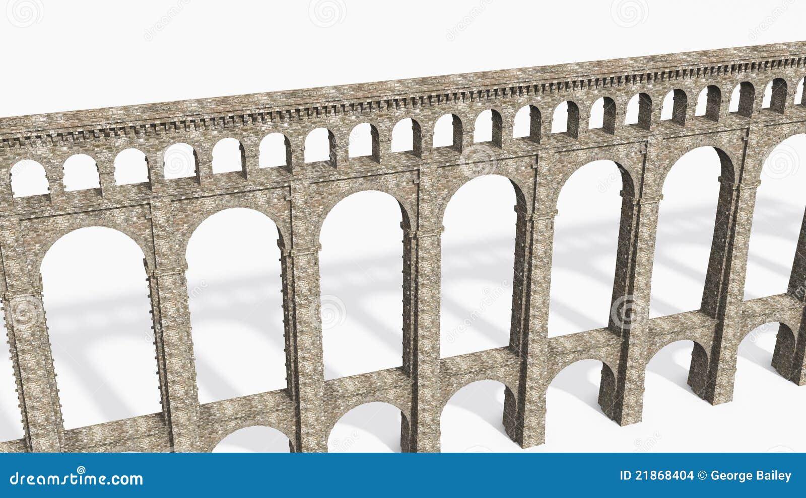 roman aqueduct on white stock images image 21868404