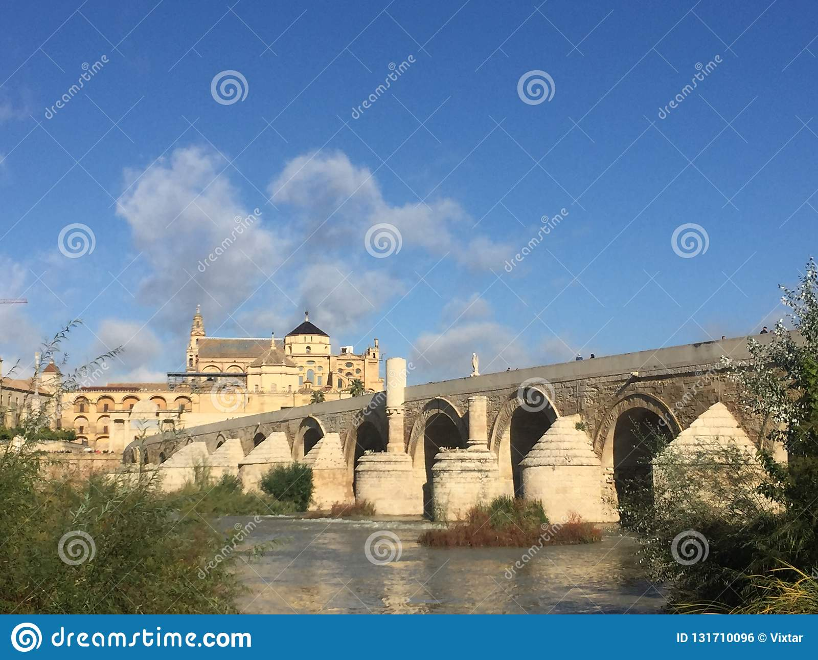 The roman bridge crossing the Guadalquivir river