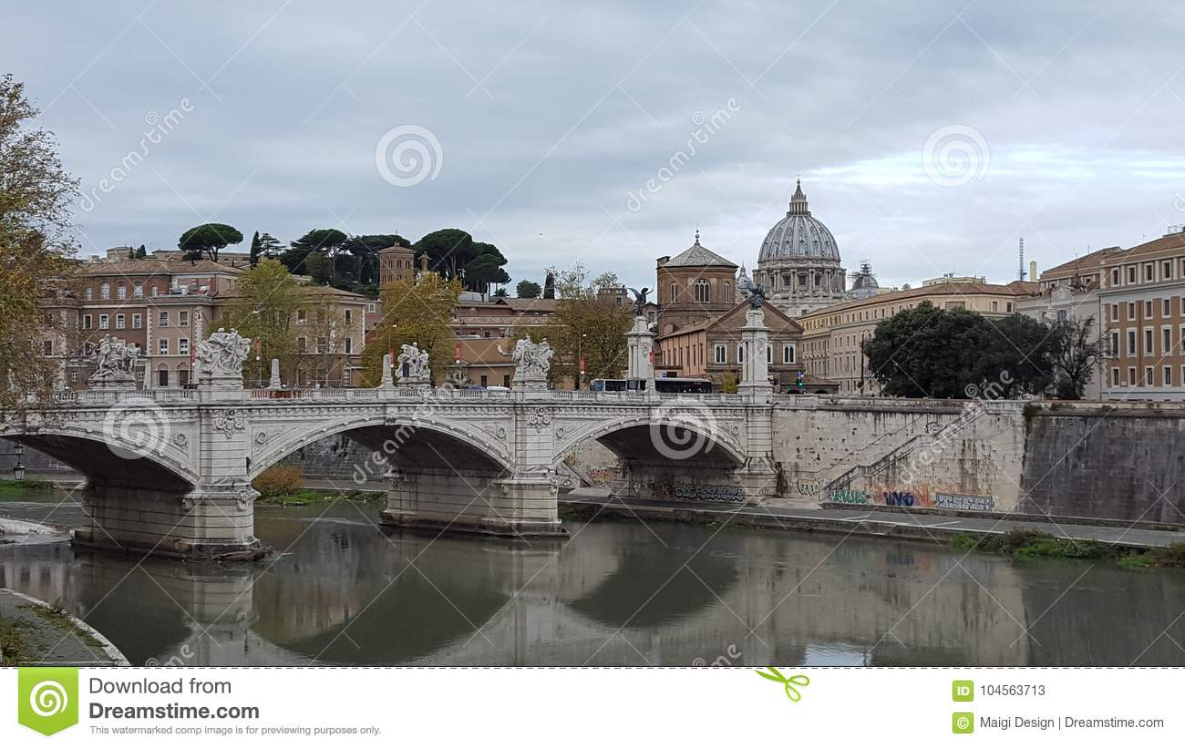 Bridge Ponte Sant'Angelo in Rome, Italy